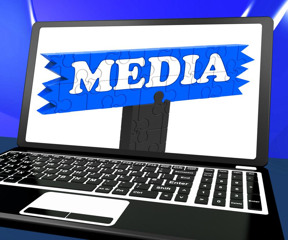 Media On Laptop Shows Internet Broadcasting