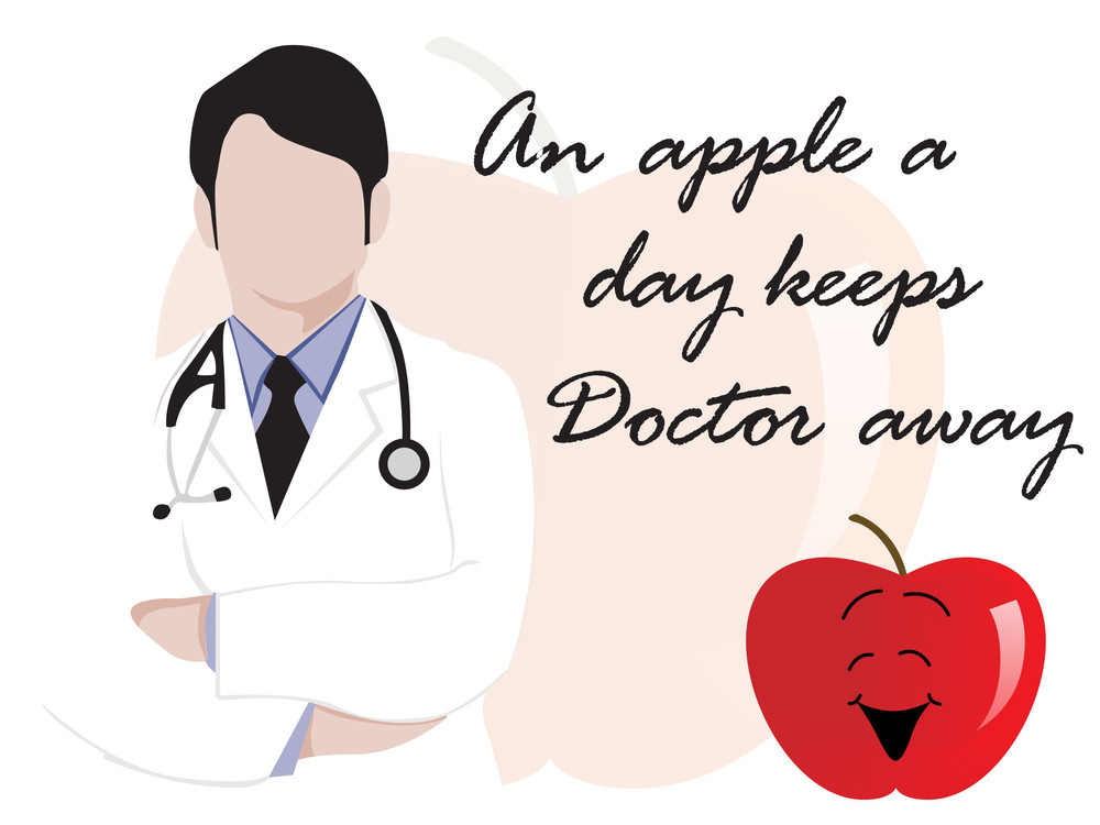 Medical Background With Doctor And Apple