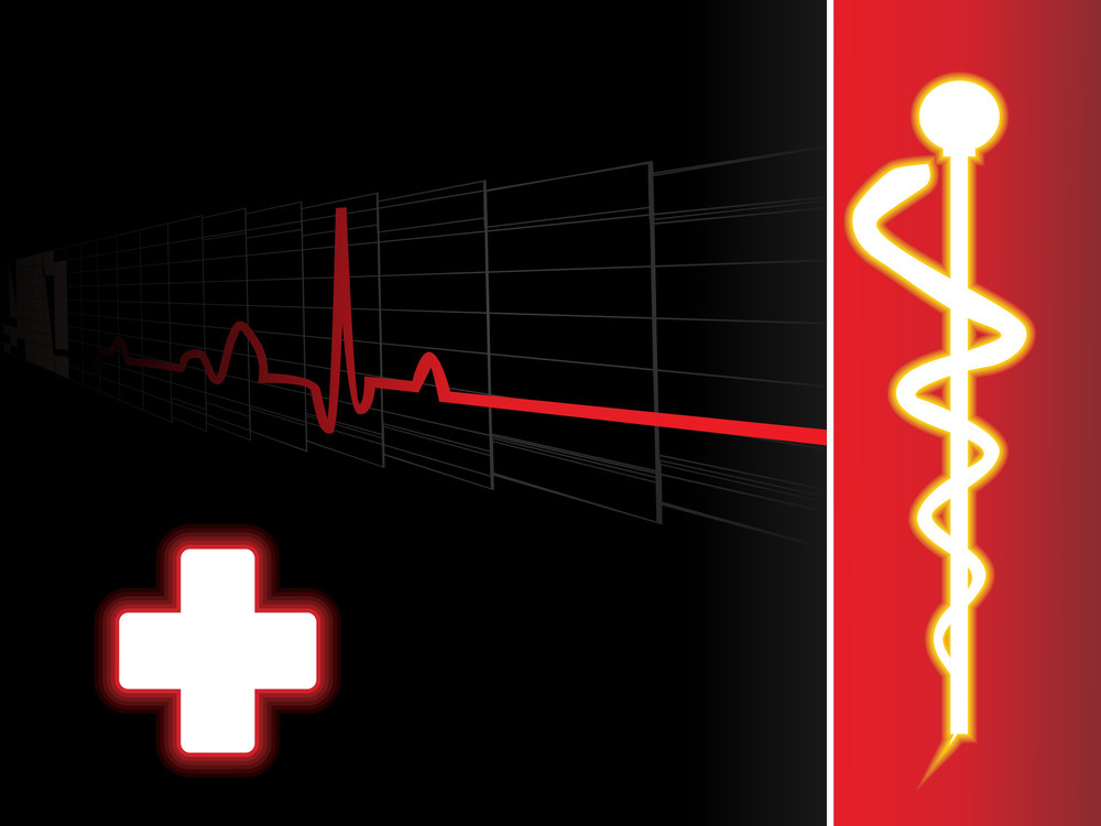 Medical Background With Heartbeat And Caduceus