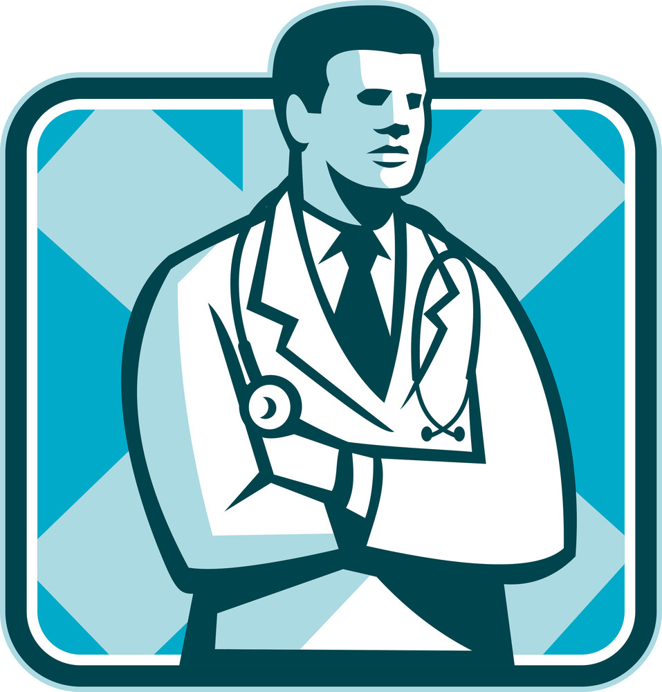 Medical Doctor Physician Stethoscope Standing Retro