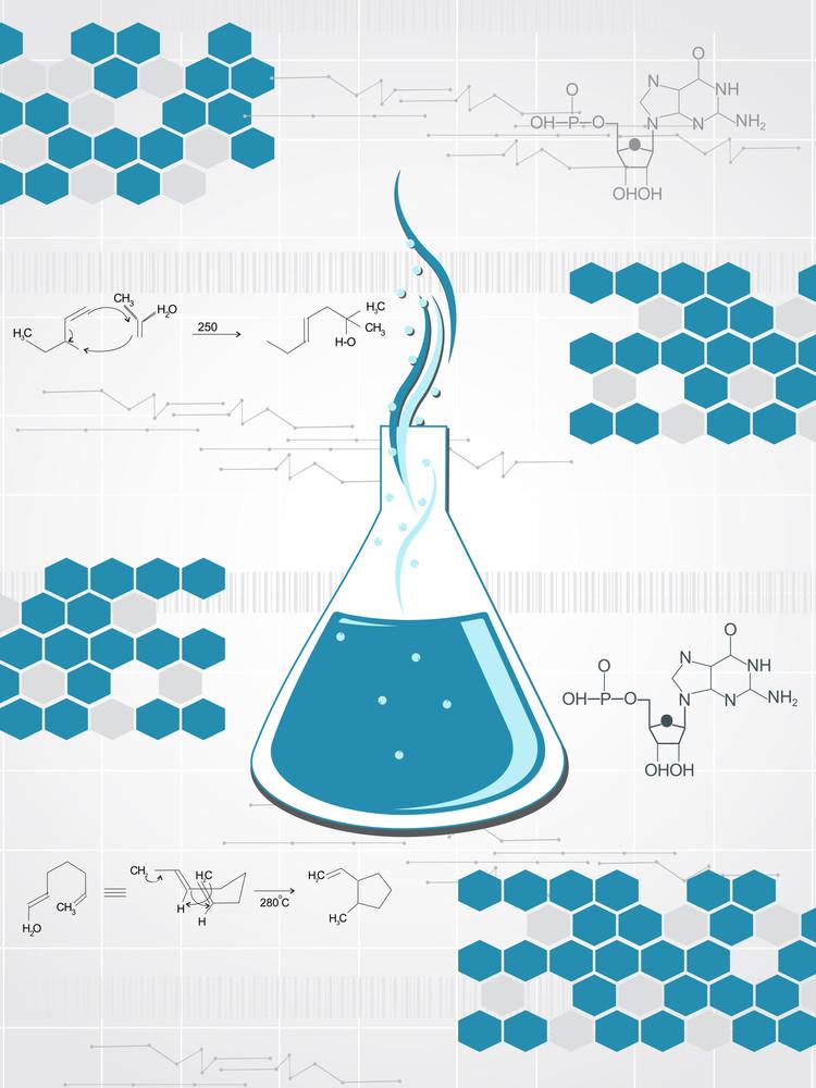 Medical Formula Backgorund With Flasks