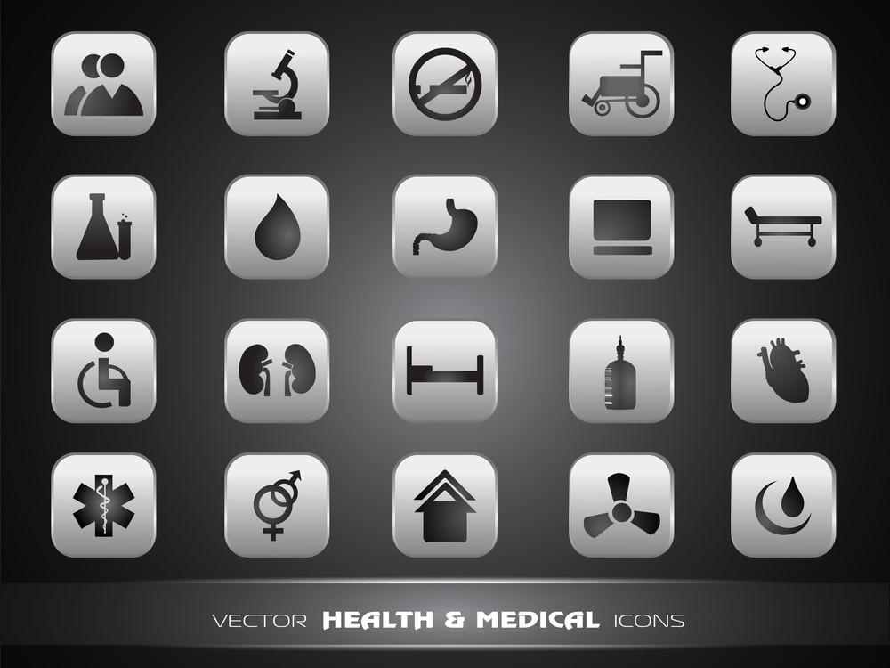 Medical Icons Set Isolated On Grey Background.
