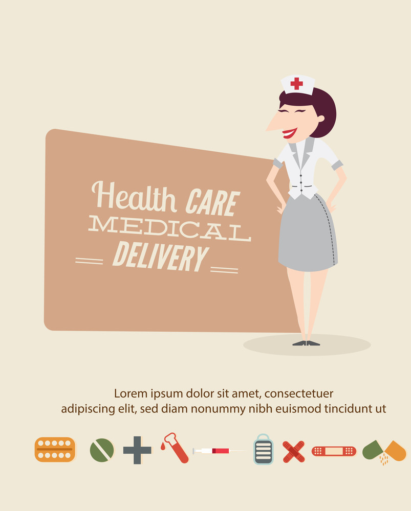 Medical Vector Illustration With Infographic Elements And Nurse (editable Text)