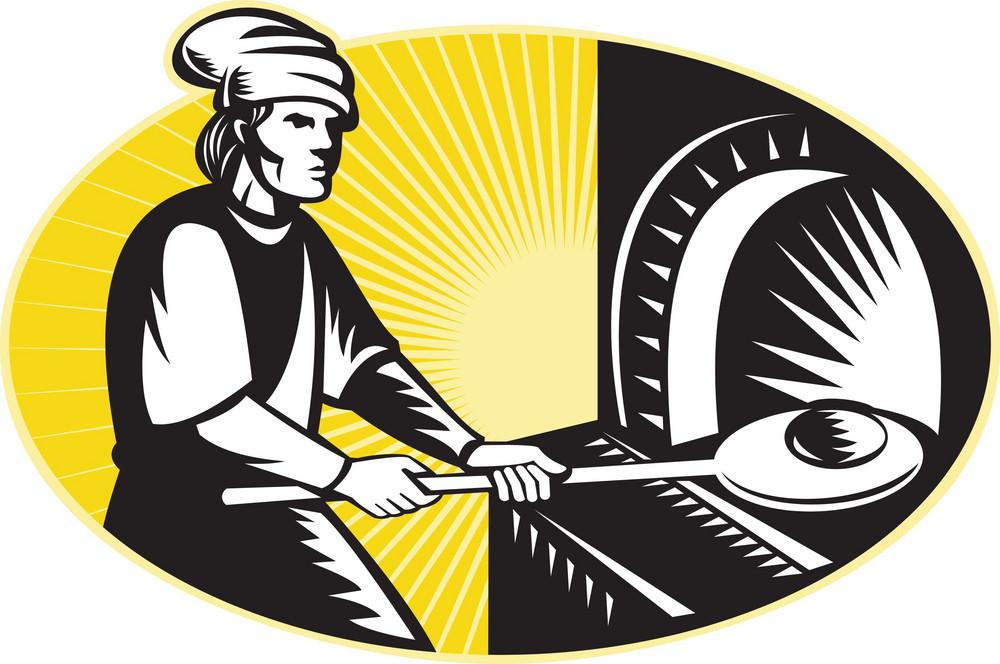 Medieval Baker Baking Bread Pan Oven Retro