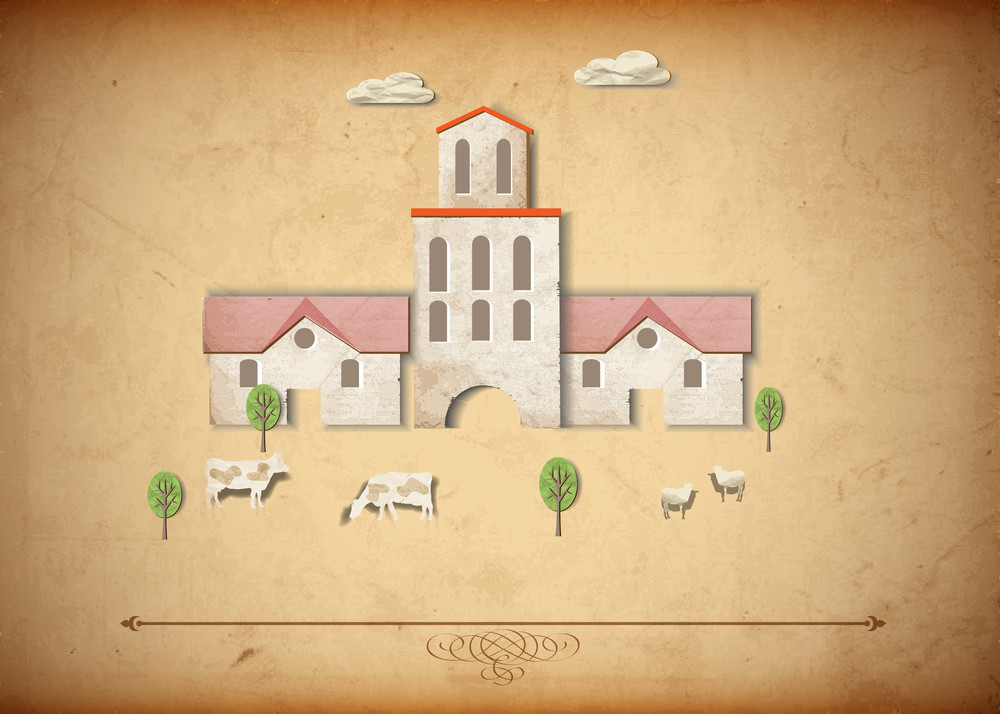 Medieval Church And Sheeps,cows