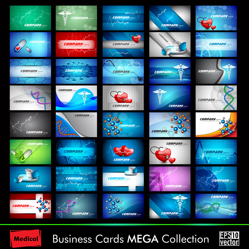 Mega Collection Of 40 Abstract Medical Business Cards Or Visiting Cards On Different Topic