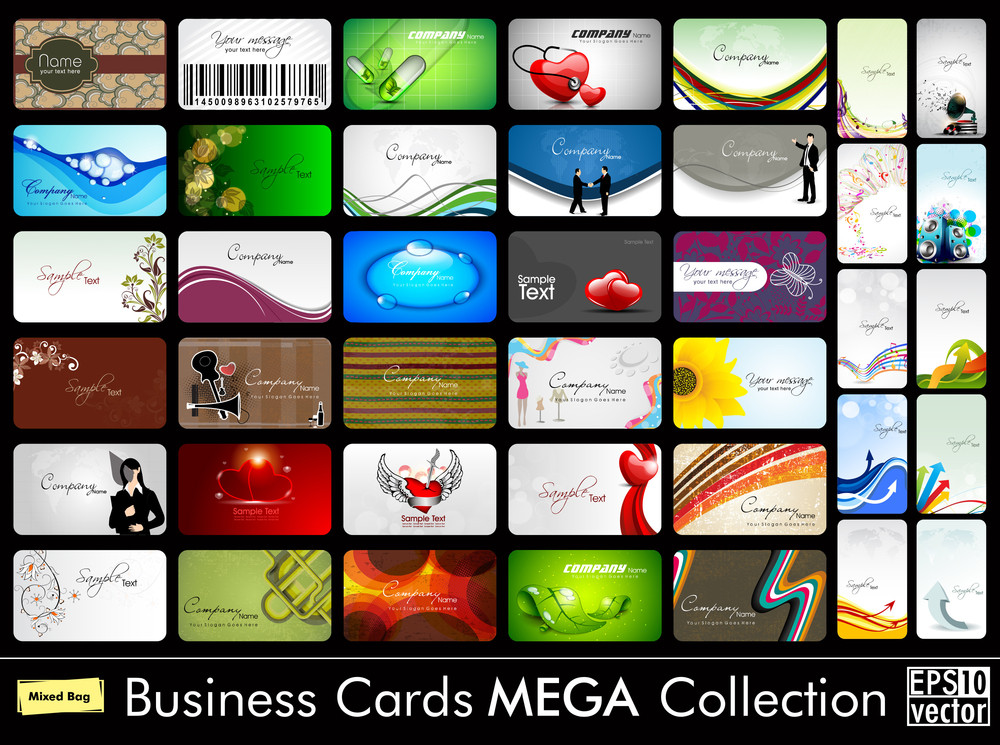Mega Collection Of 40 Abstract Professional And Designer Business Cards Or Visiting Cards On Different Topic