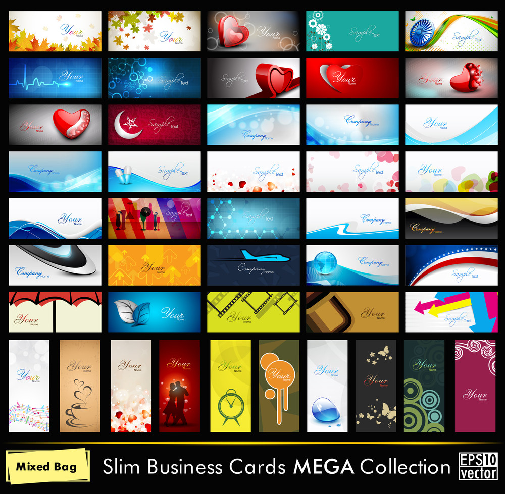 Mega Collection Of 52 Professional And Designer Business Cards Or Visiting Cards On Different Topic