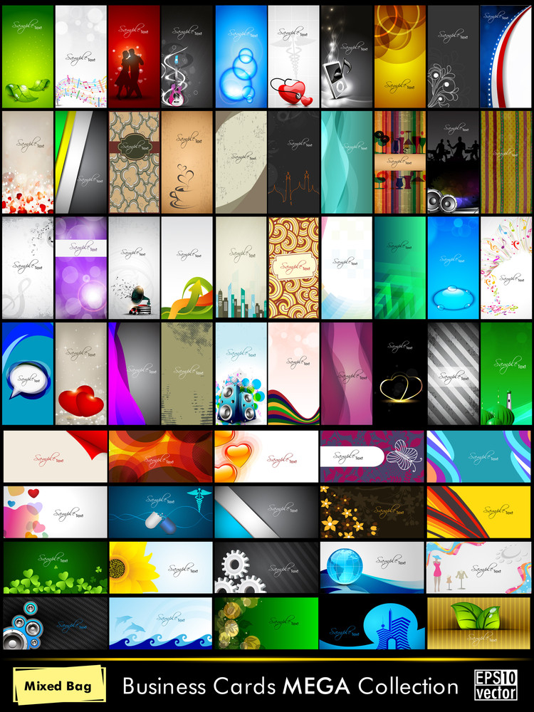 Mega Collection Of 60 Abstract Professional And Designer Business Cards Or Visiting Cards On Different Topic