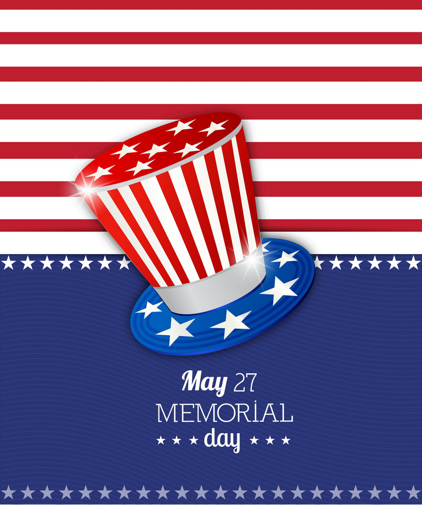 Memorial Day Vector Illustration With American Flag And Hat