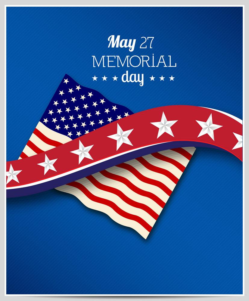 Memorial Day Vektor-Illustration mit amerikanischer Flagge und Stern