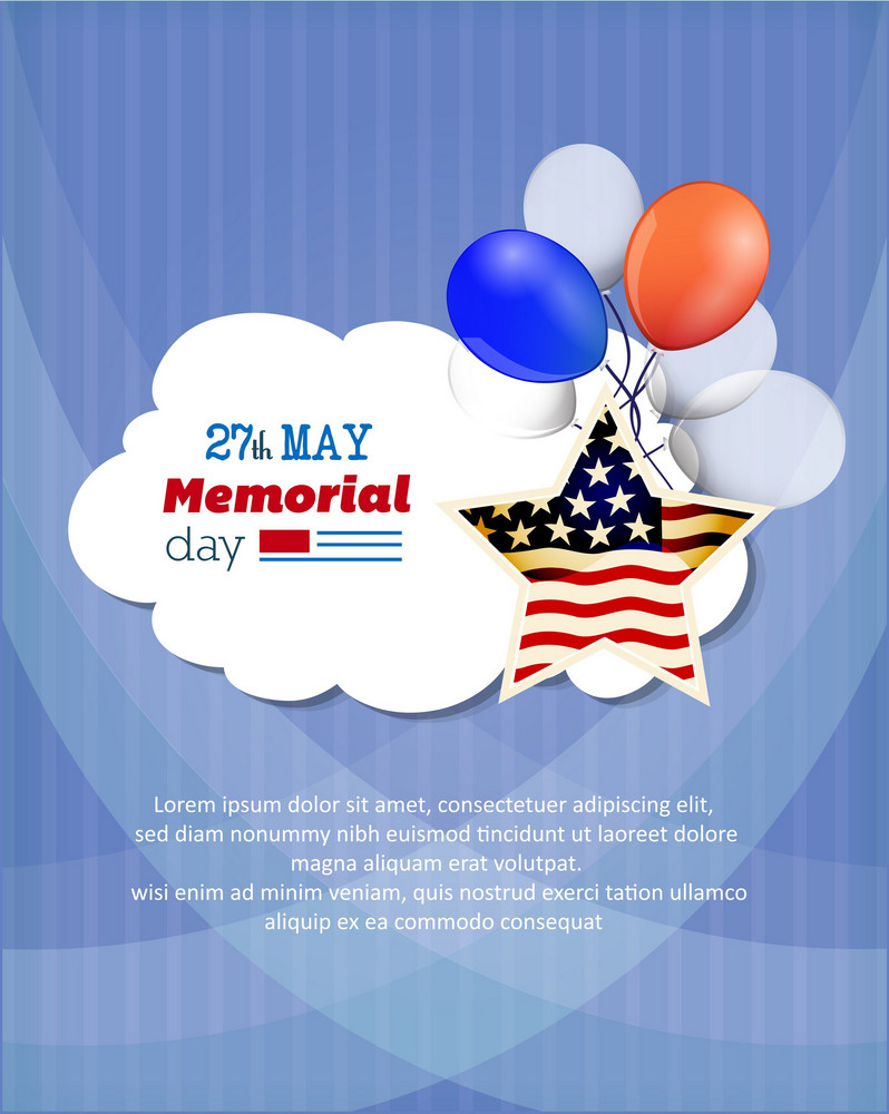 Memorial Day Vector Illustration With American Flag, Balloons And Star