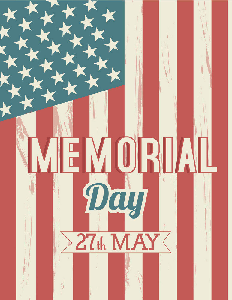 memorial day vector illustration with american flag royalty free