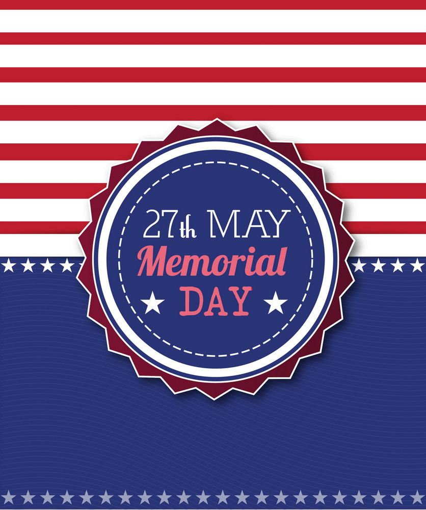 Memorial Day Vector Illustration With American Frag And Badge
