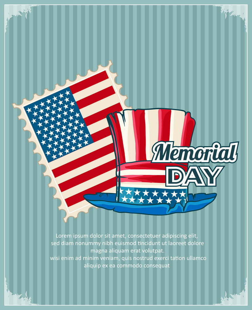 Memorial Day Vector Illustration With American Stamp And Hat