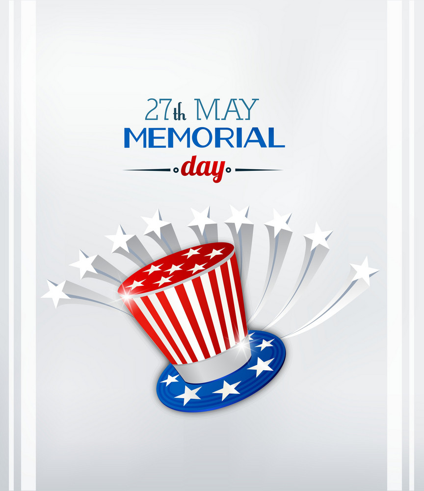 Memorial Day Vector Illustration With Hat And Stars