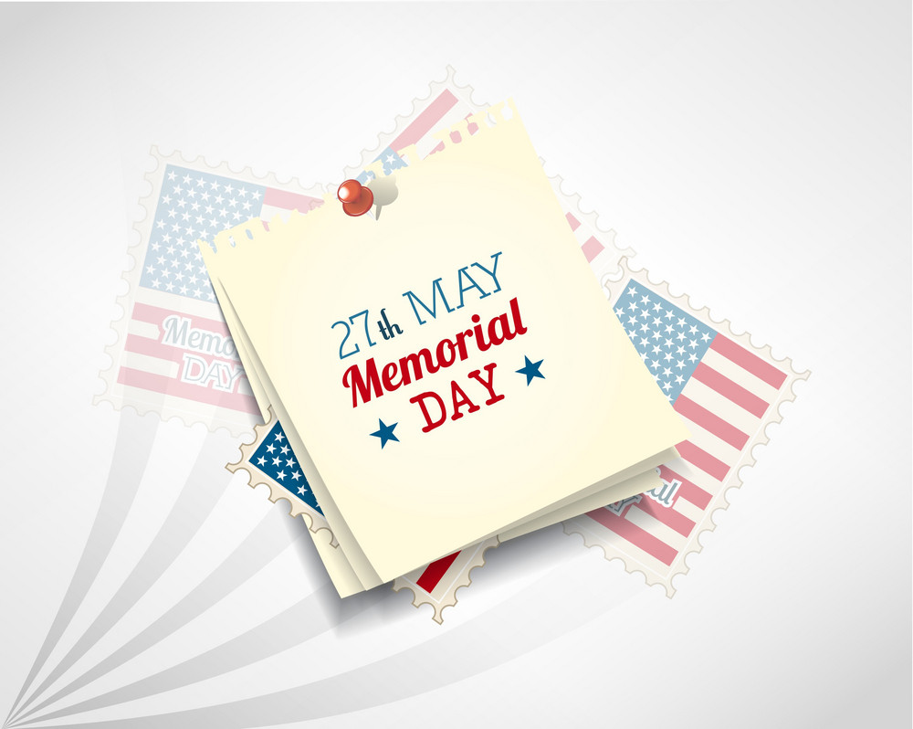 Memorial Day Vector Illustration With Post It And American Flag