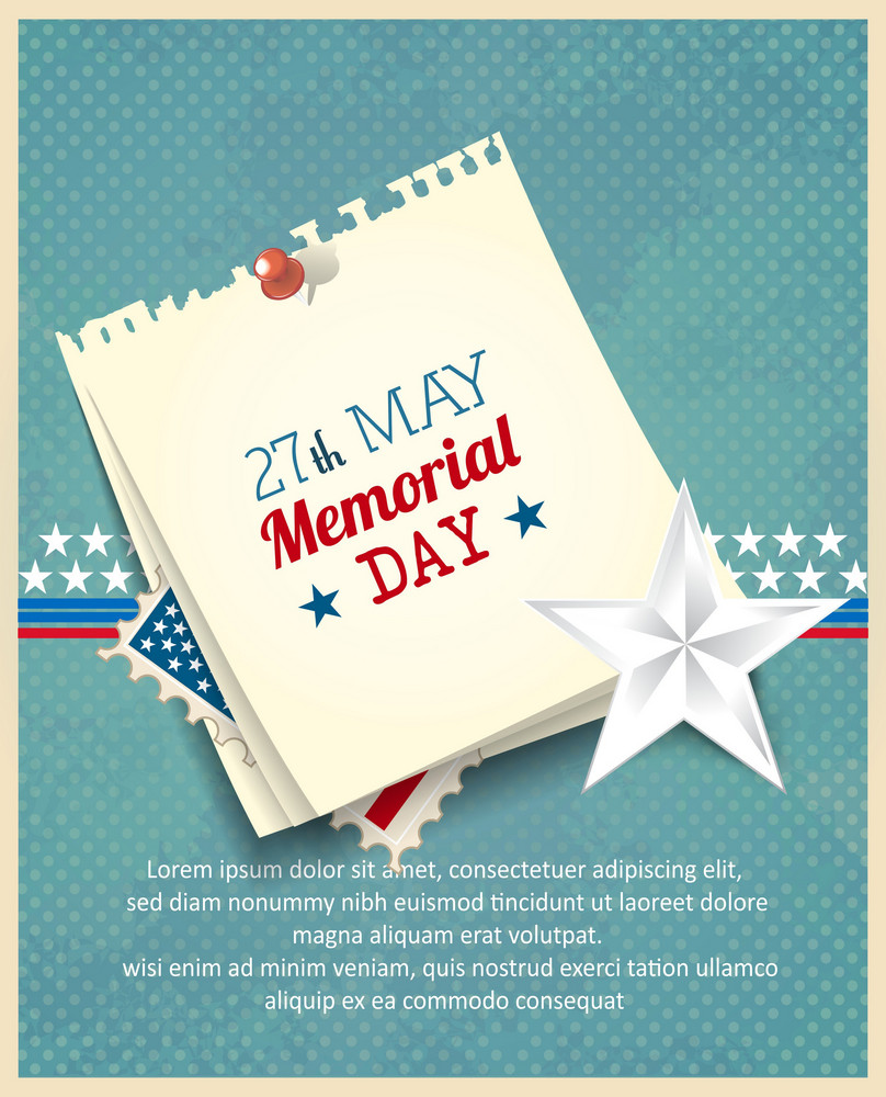 Memorial Day Vector Illustration With Post It, Stamp And Star