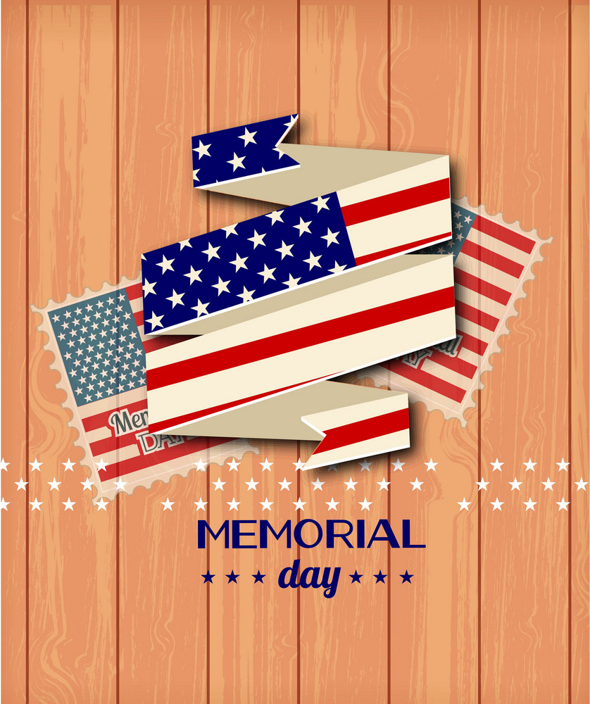 Memorial Day Vector Illustration With Ribbon