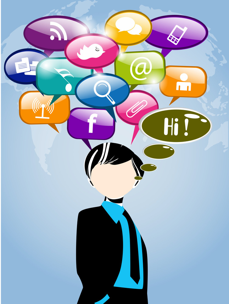 Men With Thought Speech Bubble With Social Network Sign  On World Map Background.