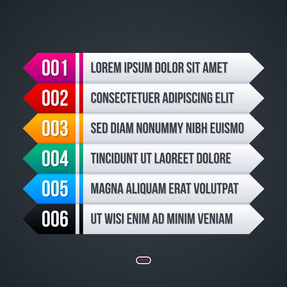 Menu Template With Six Colorful Options.