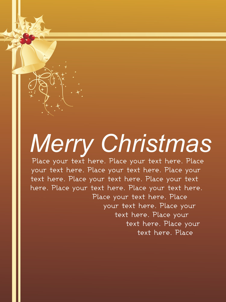 Merry Christmas Card With Bell