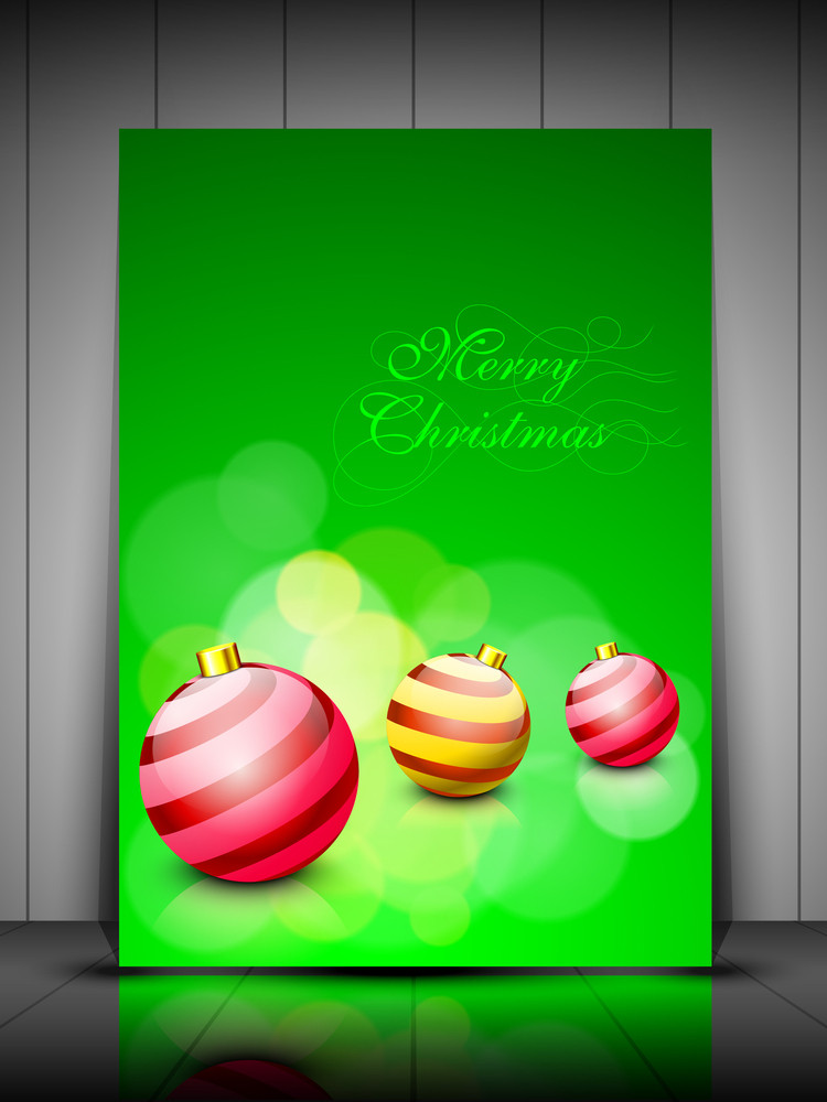 Merry Christmas Greeting Card Or Gift Card With Creative Beautiful Eve Balls.