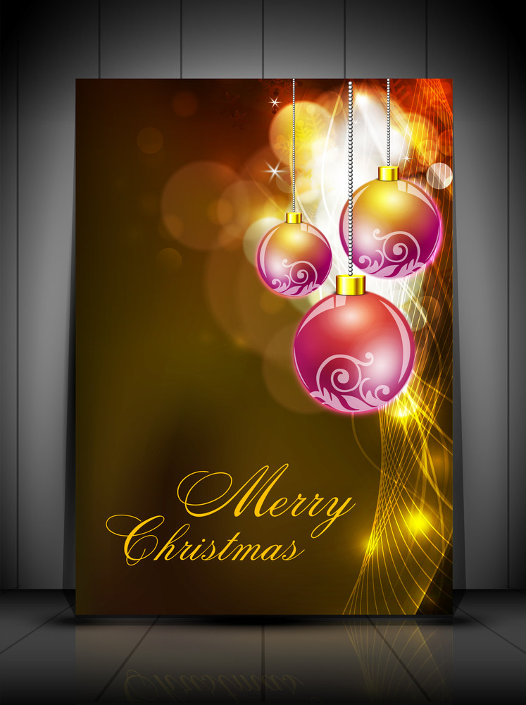 Merry Christmas Greeting Card Or Gift Card With Decorative Eve Balls.