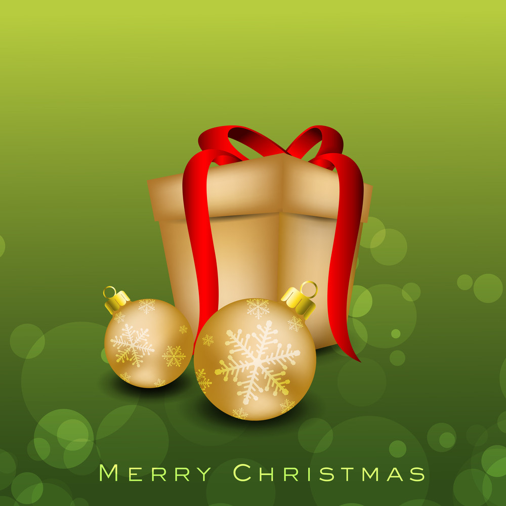 Merry Christmas Greeting Card With Golden Christmas Ball And Gift Box.