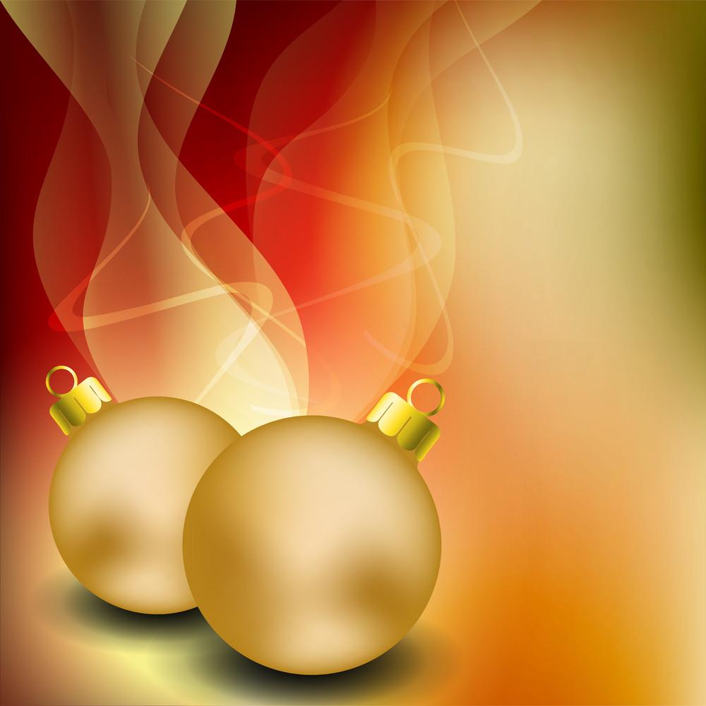 Merry Christmas Greeting Card With Golden Christmas Ball.
