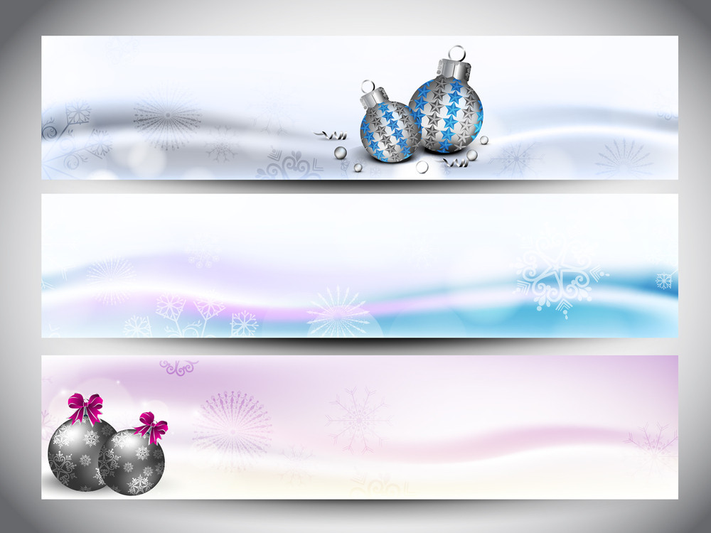 Merry Christmas Website Banner Set Decorated With Snowflakes And Lights.