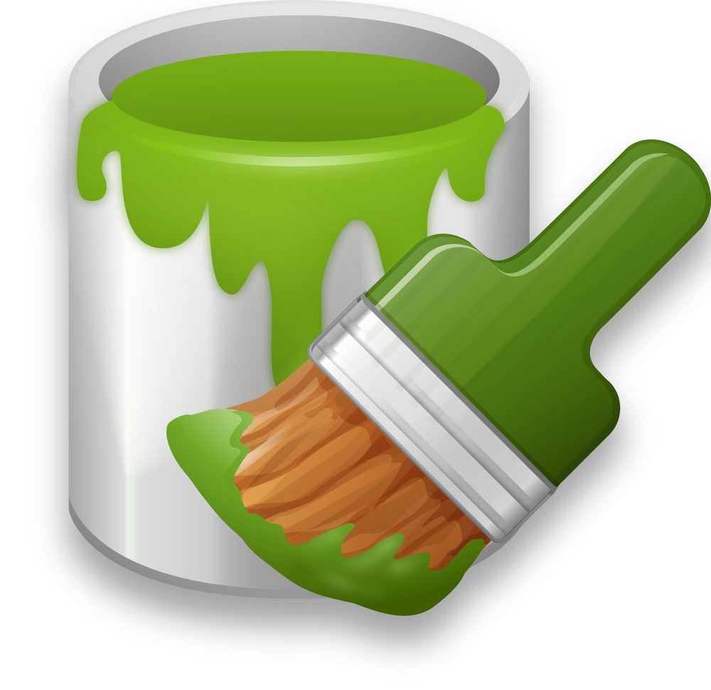 Messy Green Paint Can And Brush