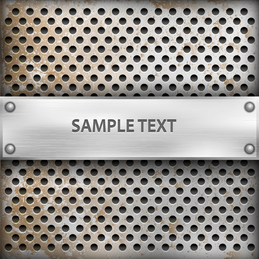 Metal Background With Plate For Text