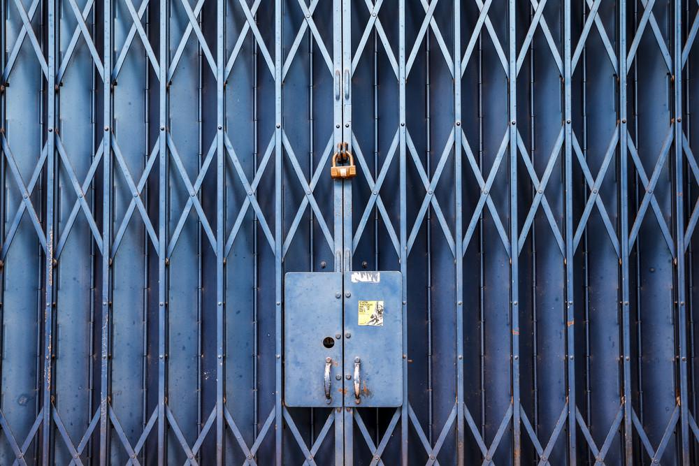 Metal blue door with lock in Asian style