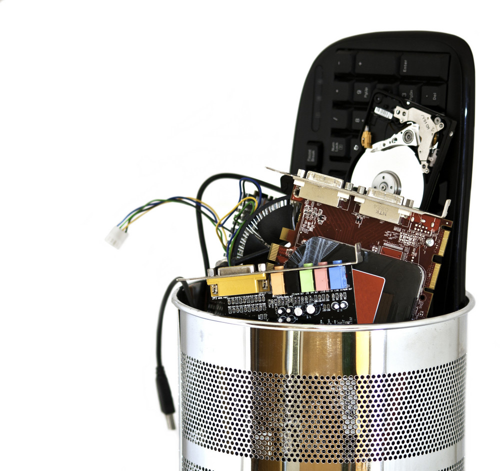 Metal Trash Can Containing Computer Waste