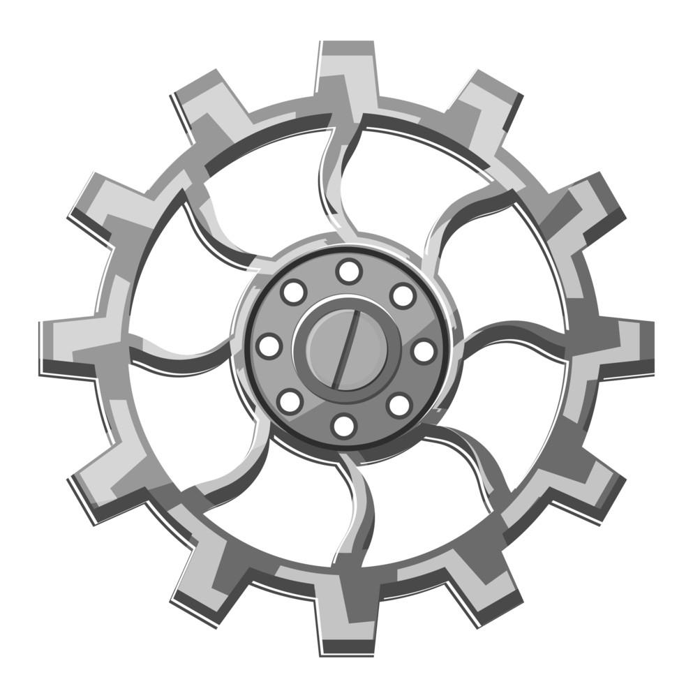 Metallic Gear Wheel Vector