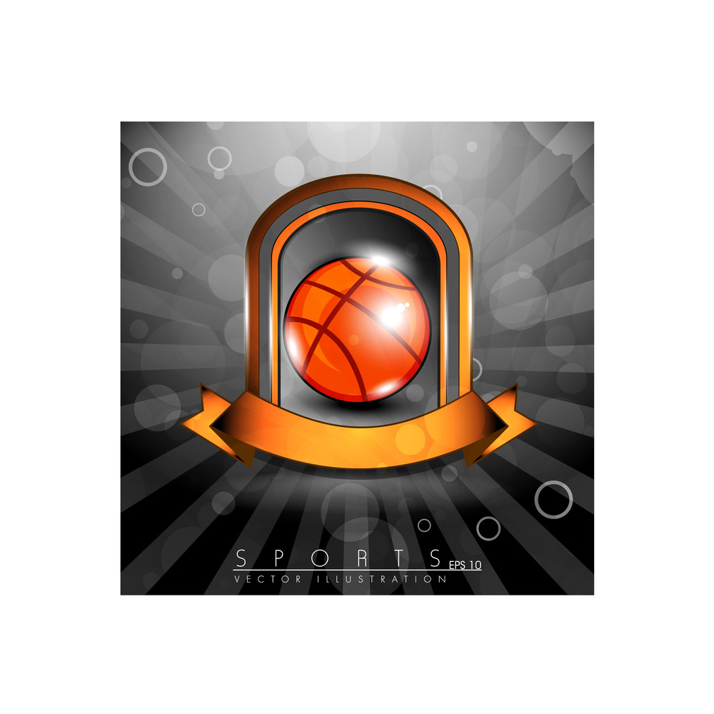 Metallic Glossy Winning Shield Of Basket Ball With Orange Ribbon On Glossy Stage.