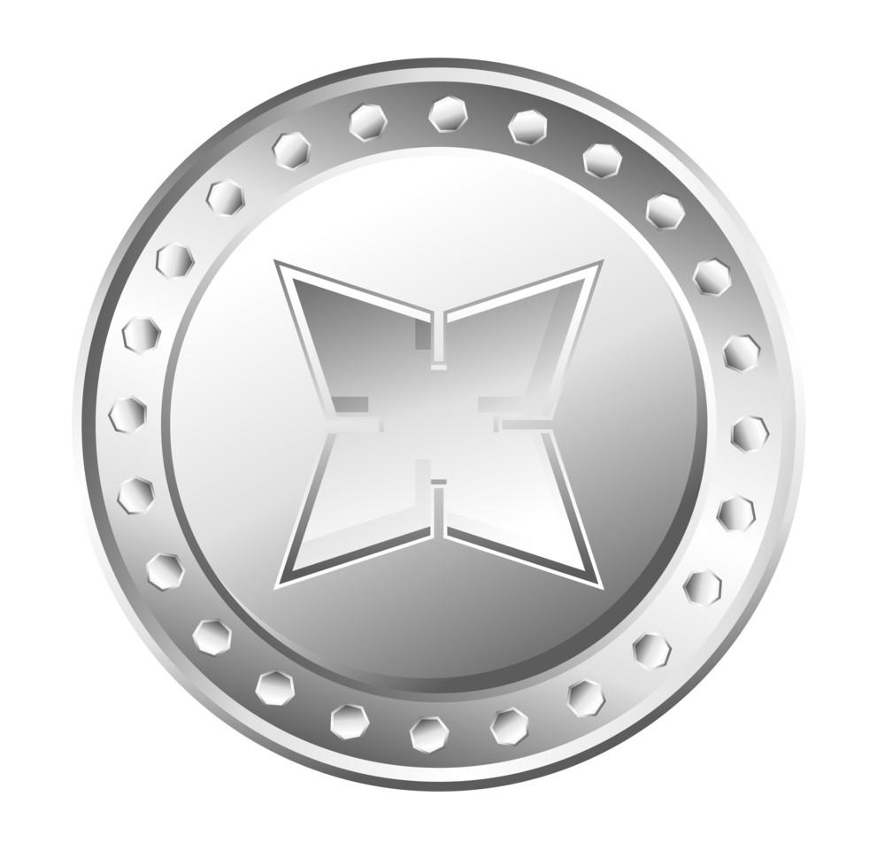 Metallic Star Coin Vector