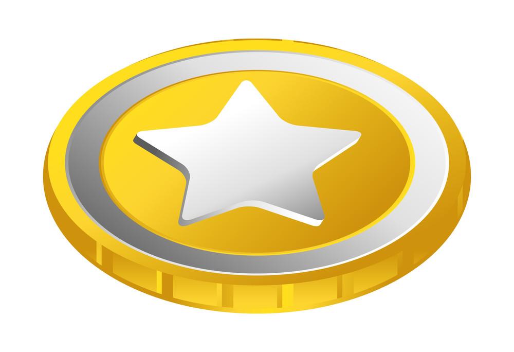 Metallic Star Golden Coin