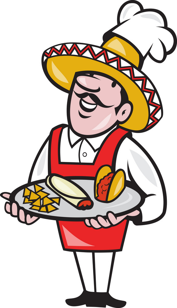 Mexican Chef Cook Plate Tacos Burrito Corn Chips