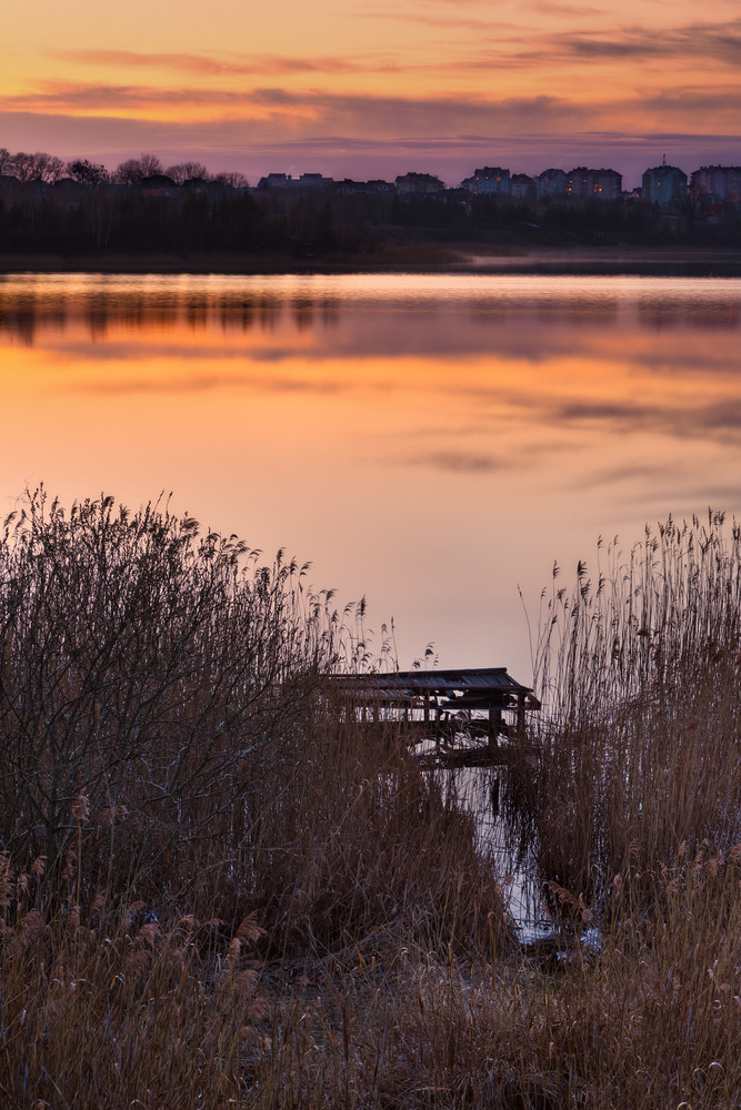 Beautiful sunset over calm lake. Colorful and vibrant landscape of lake shore with reeds. Tranquil landscape useful as background