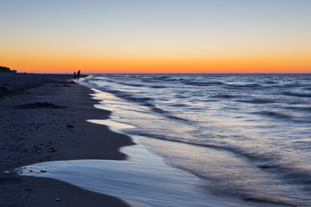 Beautiful after sunset landscape of Baltic Sea shore photographed in Poland. Baltic sea shore.