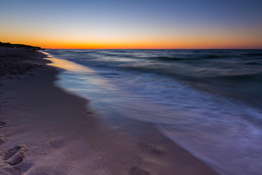 Beautiful sunset over Baltic sea. Summer landscape of polish sea beach.