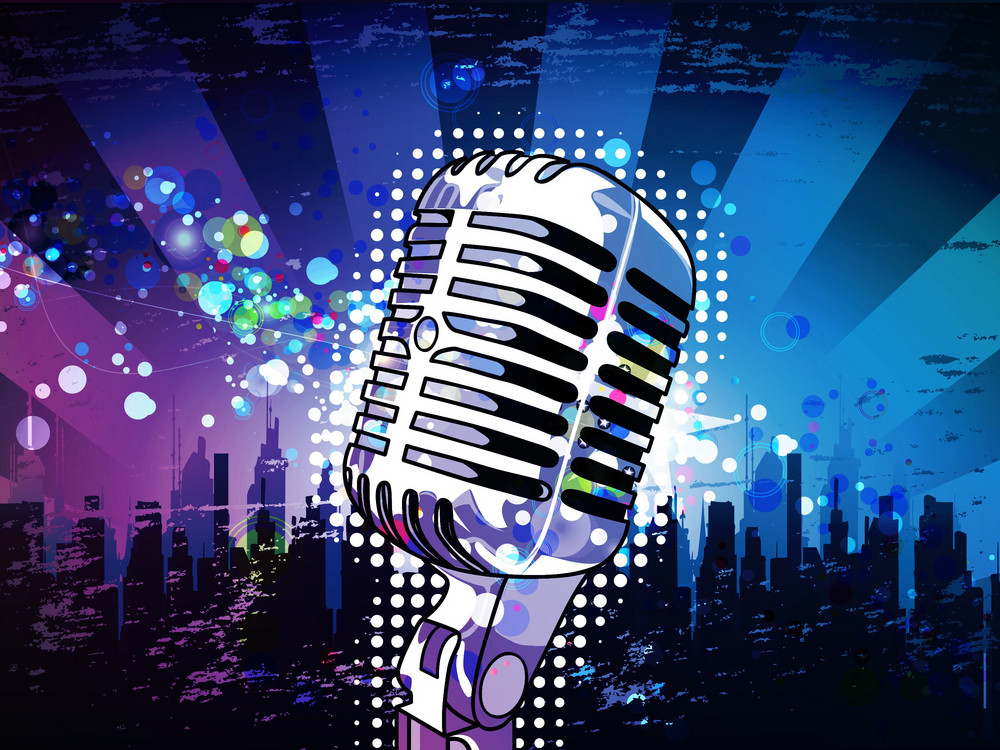 Microphone With Urban Background Vector Illustration