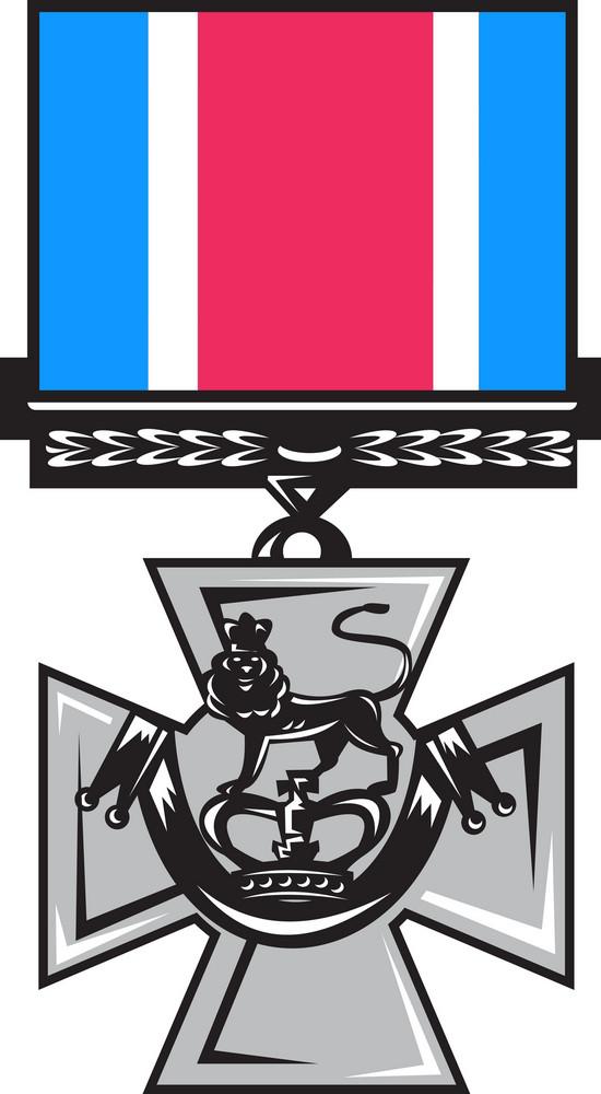 Military Medal Of Bravery Crossed Swords
