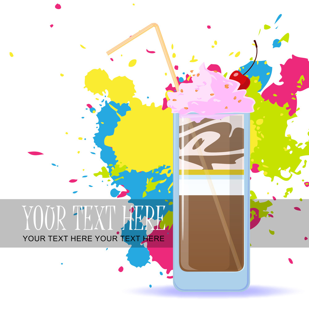 Milkshake With Cherry On A Dirty Background. Vector Illustration. Eps 10