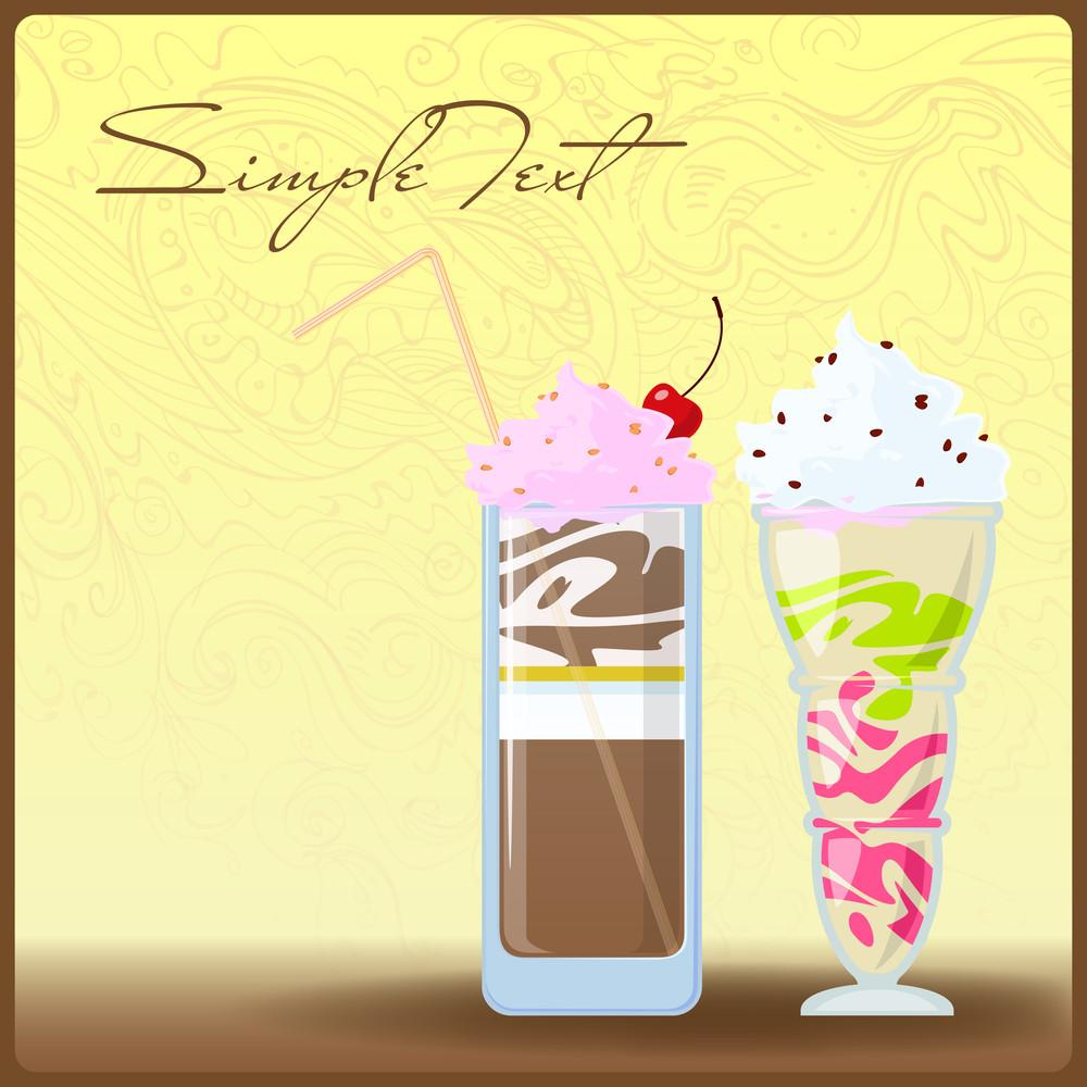 Milkshakes  On A Grung- Background. Vector Illustration. Eps 10