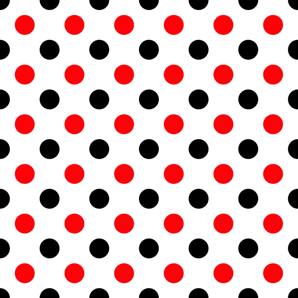 Pattern Of Black And Red Polka Dots On White Minnie Mouse Paper