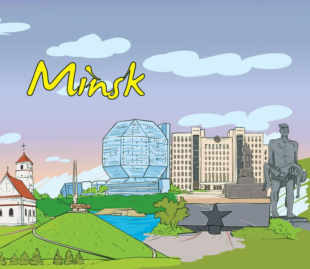Minsk Doodles Vector Illustration