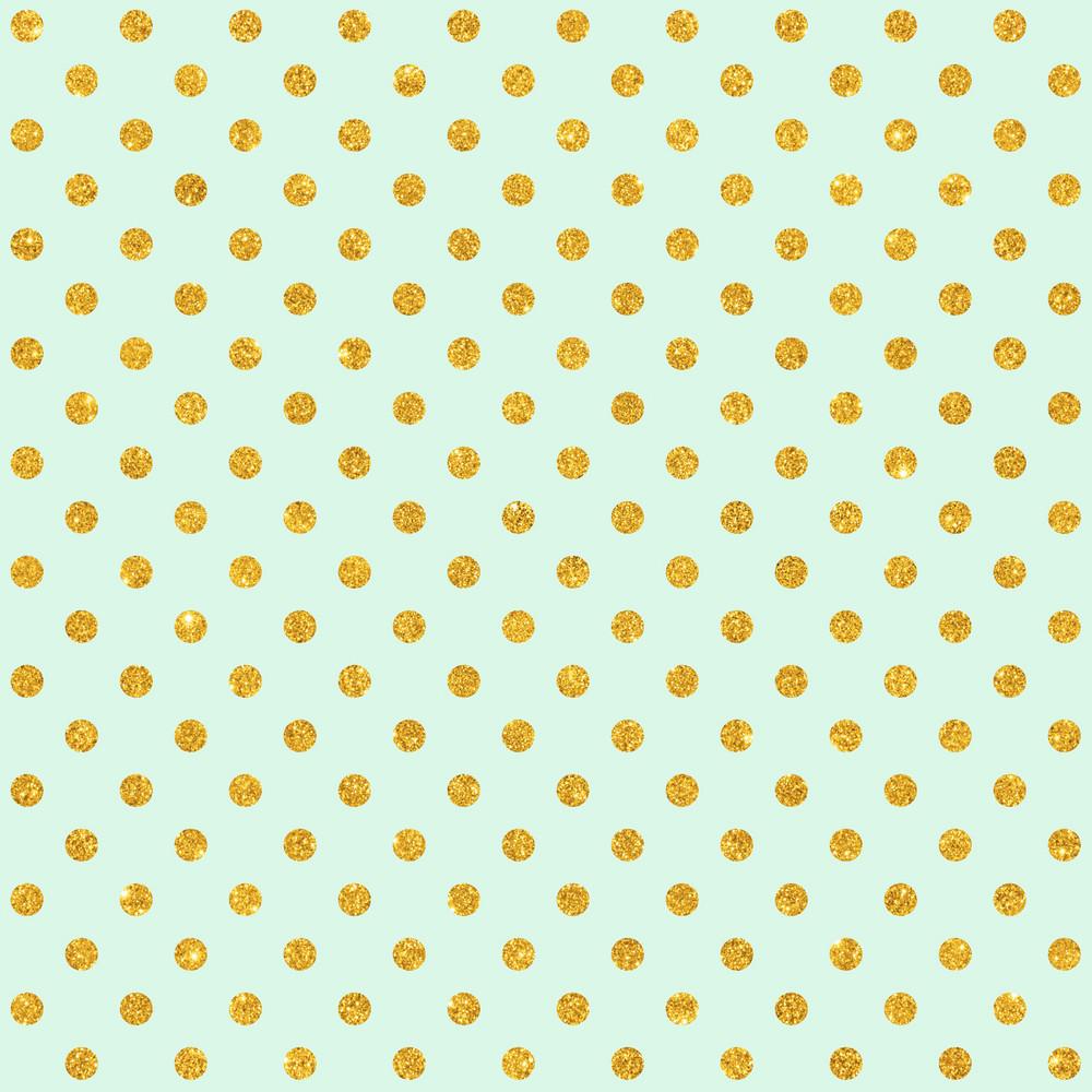 Pattern Of Gold Glitter Polka Dots On A Mint Blue Background